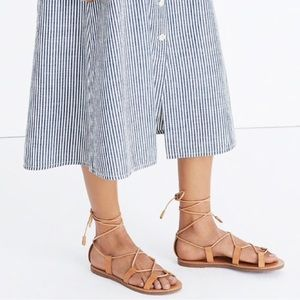 Madewell boardwalk lace up sandal 6 tan leather